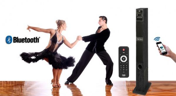 TREVI XT 108 BT, Bluetooth samostoječi HiFi zvočnik, 60W, USB, MP3, Radio FM, LED display + daljinec, lesen