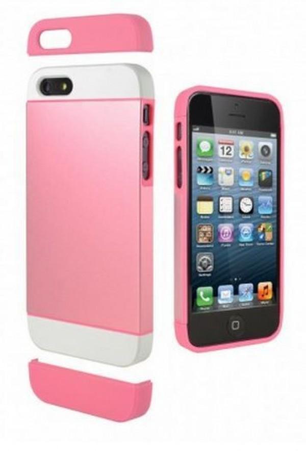 Cygnett Zaščitni tanek etui iz PC in aluminija ALTERNATE + zaščita zaslona za iPhone 5S/5, roza-bele barve, CY1227CPALT - Cygnett