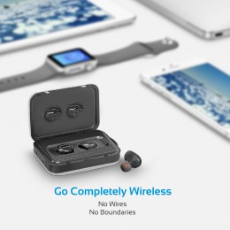 PROMATE PowerBeat TWS ultra-lahke brezžične stereo slušalke z 5000 mAh polnilno postajo, srebrne