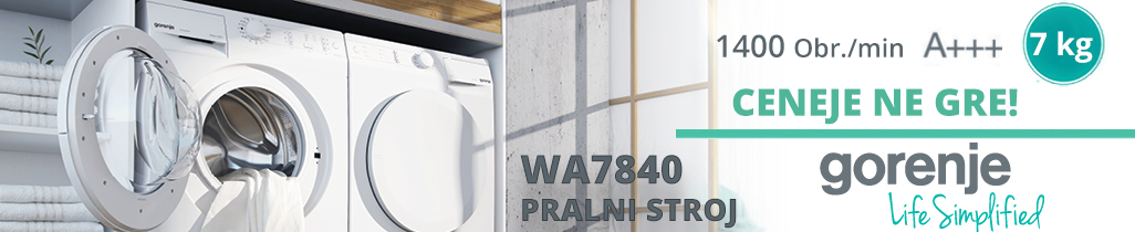 Pralni stroj Gorenje WA7840 z 1400 obrati in energetsko izkaznico A+++.